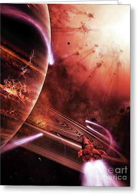 Interstellar Travel Greeting Cards - Starships Hone Their Skills Greeting Card by Brian Christensen