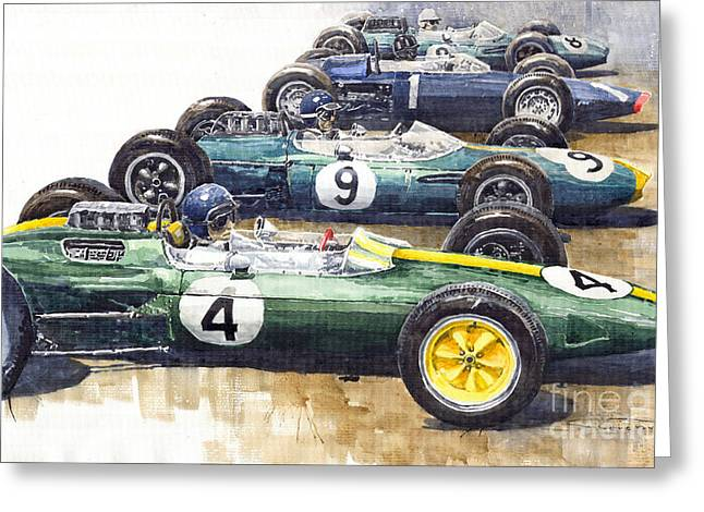 Gurney Greeting Cards - Start British GP 1963 - Lotus  Brabham  BRM  Brabham Greeting Card by Yuriy  Shevchuk