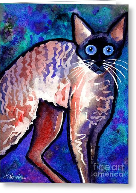 Whimsical Cat Art Greeting Cards - Startled Cornish Rex Cat Greeting Card by Svetlana Novikova