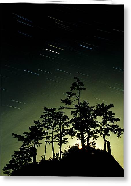 Startrails And Moonlit Fog, Canada Greeting Card by David Nunuk