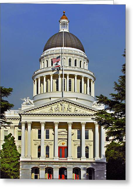 Governors Greeting Cards - State Capitol Building Sacramento California Greeting Card by Christine Till