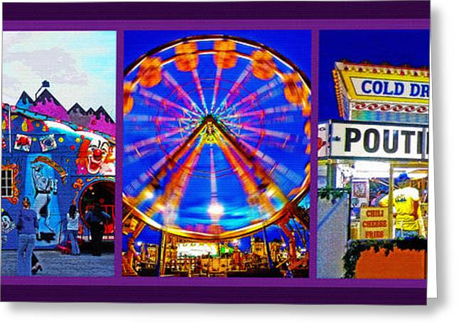 Park Scene Mixed Media Greeting Cards - State Fair Triptych 2 Greeting Card by Steve Ohlsen
