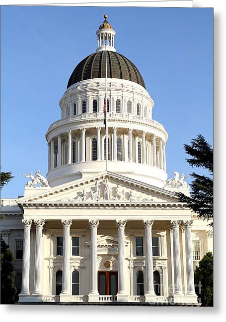 Schwarzenegger Greeting Cards - State of California Capitol Building . 7D11738 Greeting Card by Wingsdomain Art and Photography