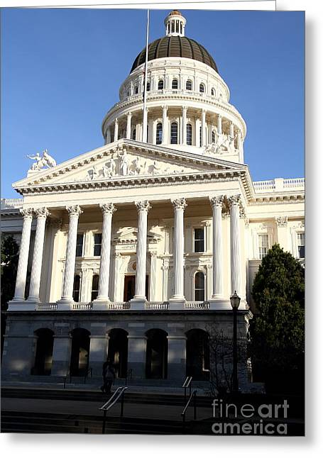 Schwarzenegger Greeting Cards - State of California Capitol Building . 7D11749 Greeting Card by Wingsdomain Art and Photography