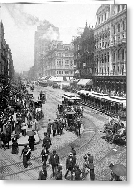 Horse Buggy Greeting Cards - State Street - Chicago Illinois - c 1893 Greeting Card by International  Images