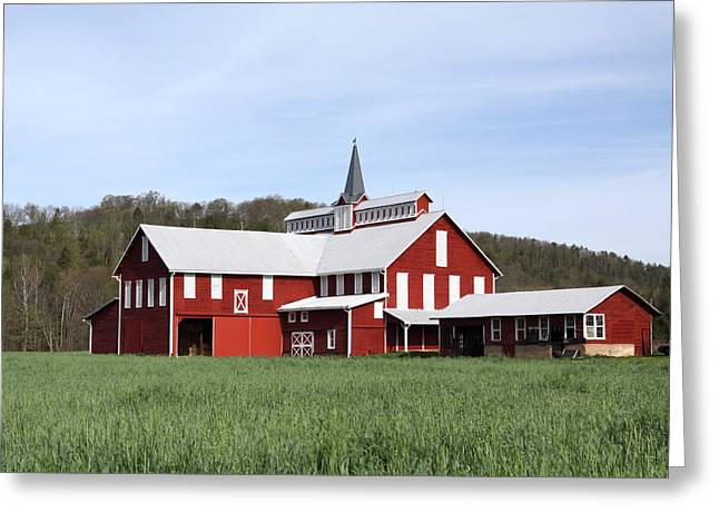 Weathervane Greeting Cards - Stately Red Barn With Elongated Clerestory Cupola Greeting Card by John Stephens