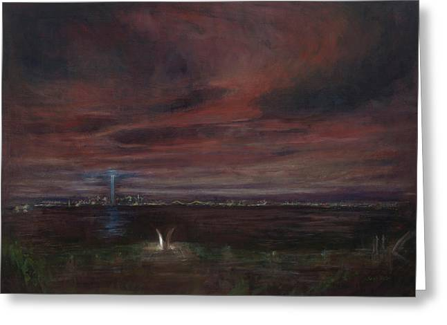 Wtc 11 Paintings Greeting Cards - Staten Island - September Greeting Card by Sarah Yuster