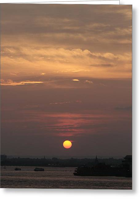 Staten Island Ferry Greeting Cards - Staten Island Ferry and Sunset Greeting Card by Christopher Kirby