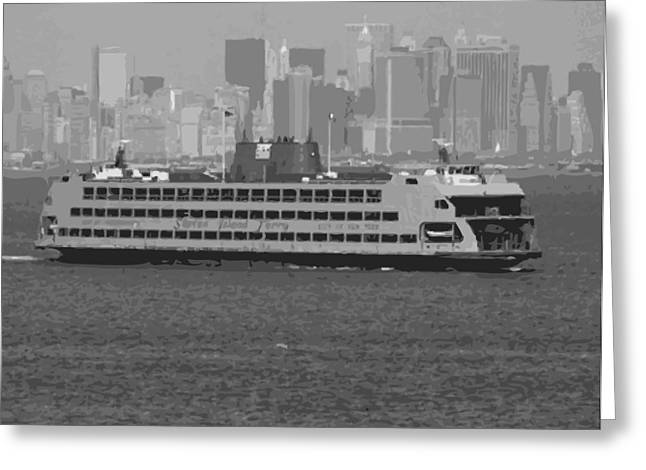 Staten Island Ferry In New York Greeting Cards - Staten Island Ferry BW16 Greeting Card by Scott Kelley