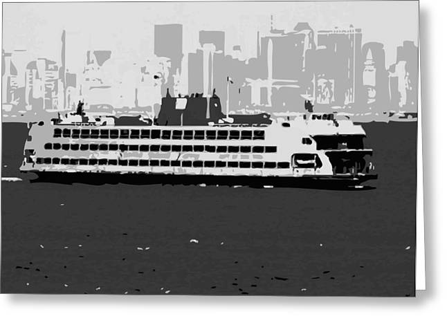 Staten Island Ferry In New York Greeting Cards - Staten Island Ferry BW3 Greeting Card by Scott Kelley