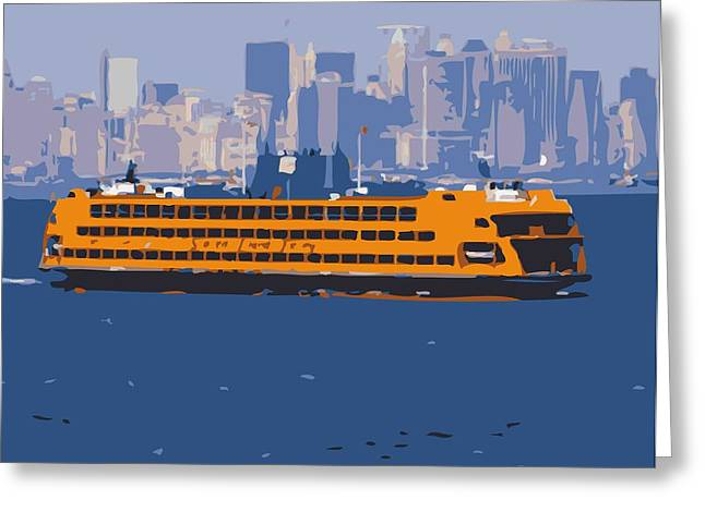 New York City Fire Escapes Greeting Cards - Staten Island Ferry Color 16 Greeting Card by Scott Kelley