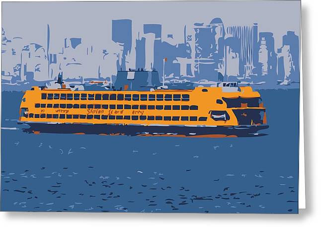 Staten Island Ferry In New York Greeting Cards - Staten Island Ferry Color 6 Greeting Card by Scott Kelley