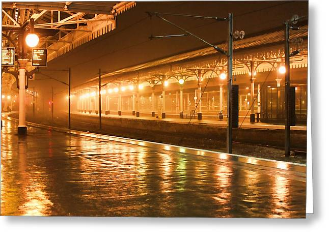 Night Lamp Photographs Greeting Cards - Station at Night Greeting Card by Tony Grider
