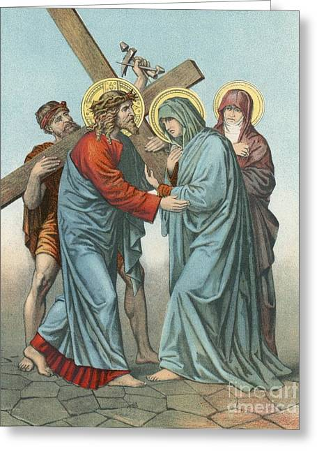 Hammer Paintings Greeting Cards - Station IV Jesus Carrying the Cross Meets his most Afflicted Mother Greeting Card by English School