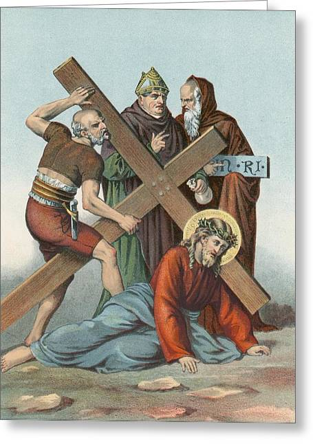 Calvary Greeting Cards - Station IX Jesus Falls under the Cross the Third Time Greeting Card by English School