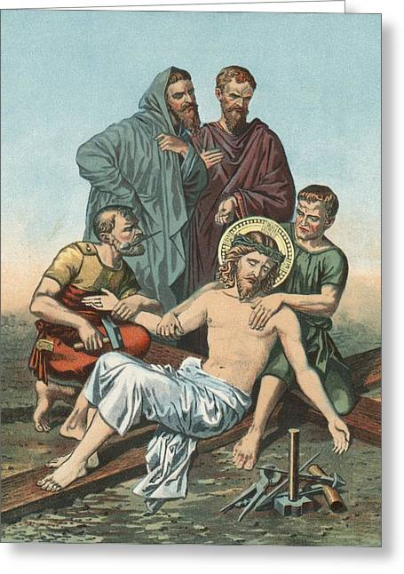 Calvary Greeting Cards - Station XI Jesus is Nailed to the Cross Greeting Card by English School