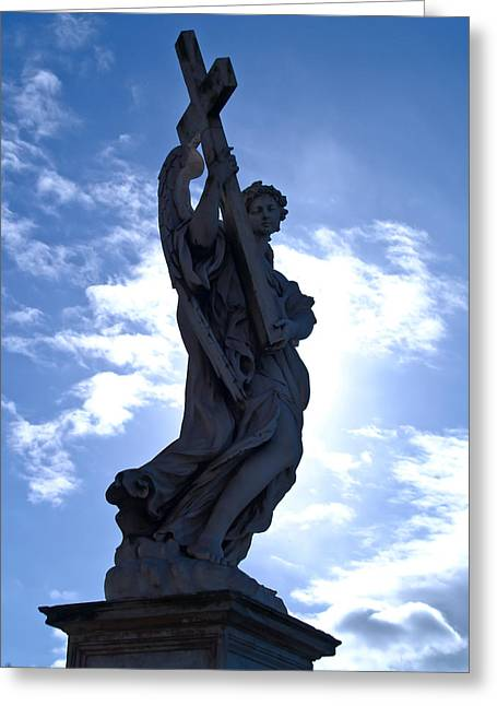 Religious Greeting Cards - Statue in Rome Greeting Card by Andres Leon