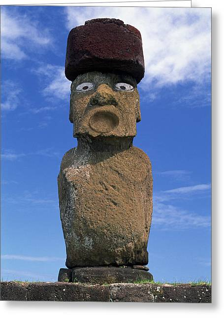 Sequential Art Greeting Cards - Statue, Moai, Easter Island, Chile Greeting Card by David Nunuk