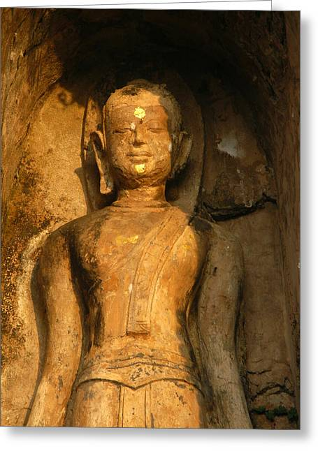 Thai Art Greeting Cards - Statue Of A Goddess At Wat Pa Sat Greeting Card by Anne Keiser