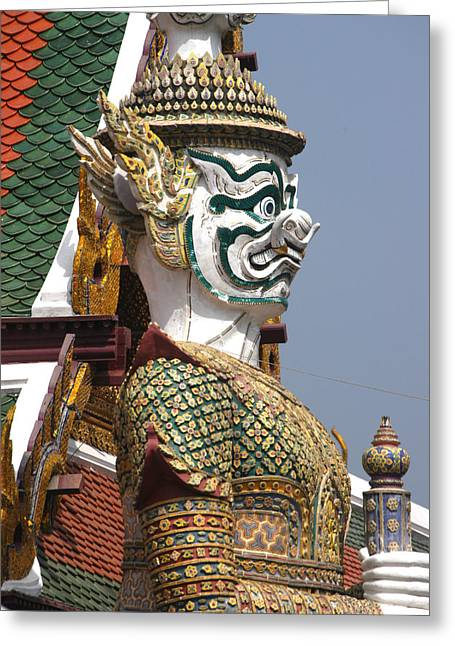 Thai Art Greeting Cards - Statue Of A Mythical God At The Grand Greeting Card by Anne Keiser