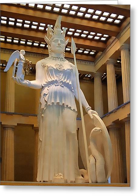 Statue Of Athena And Nike Greeting Card by Linda Phelps