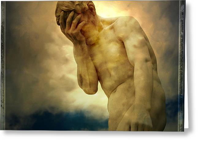 Statue of human covering face Greeting Card by BERNARD JAUBERT
