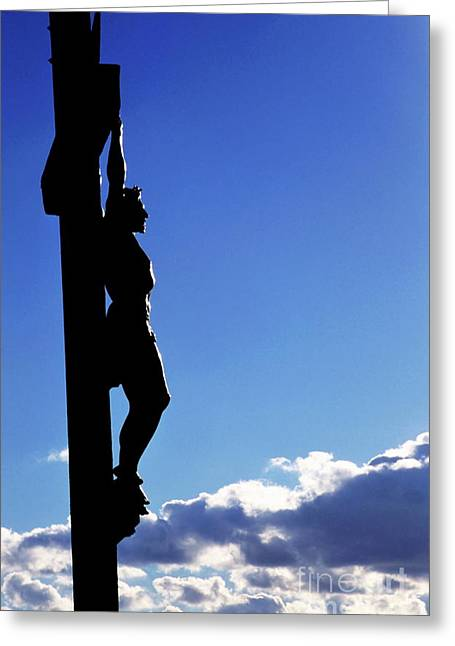 Jesus Christ Icon Greeting Cards - Statue of Jesus Christ on the cross against a cloudy sky Greeting Card by Sami Sarkis