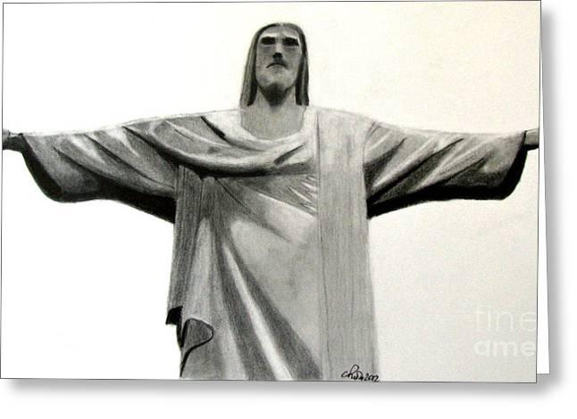 Statue Of Jesus In Rio Greeting Card by Claudiu Radulescu