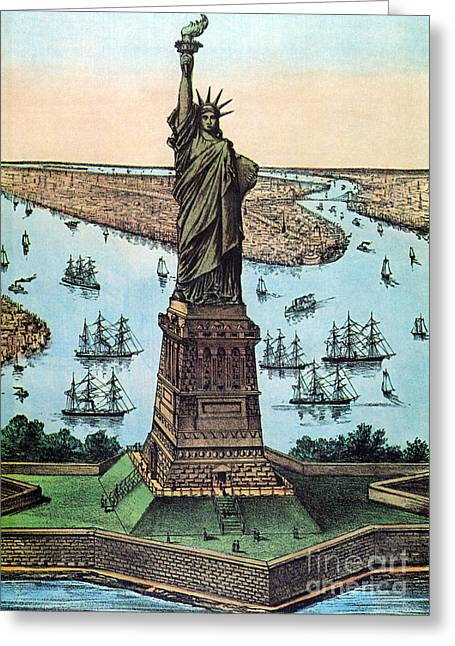 Bartholdi Greeting Cards - Statue Of Liberty, 1884 Greeting Card by Photo Researchers