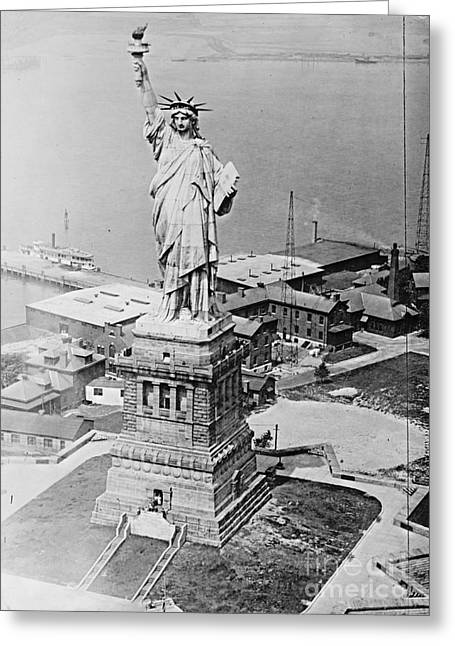 Libertas Greeting Cards - Statue of Liberty Aerial View 1920 Greeting Card by Padre Art