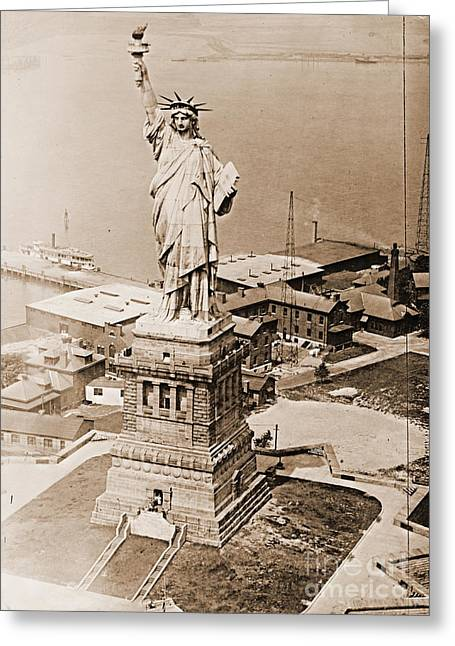 Libertas Greeting Cards - Statue of Liberty Aerial View 1920 Sepia Greeting Card by Padre Art