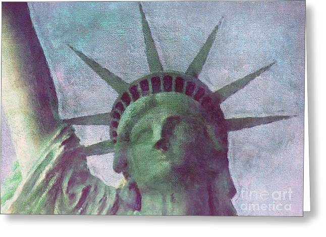 Abstract Digital Mixed Media Greeting Cards - Statue of Liberty Greeting Card by Angela Doelling AD DESIGN Photo and PhotoArt