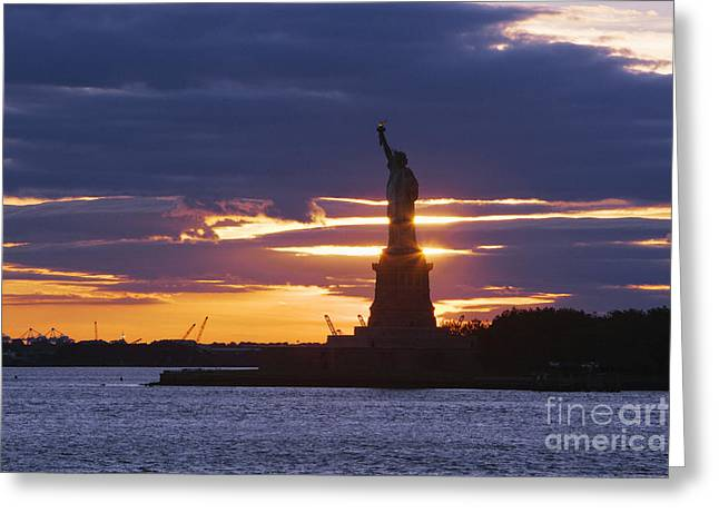 Staten Island Ferry Greeting Cards - Statue of Liberty at Sunset Greeting Card by Jeremy Woodhouse