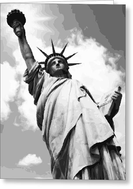 Capital Of The Universe Greeting Cards - Statue of Liberty BW16 Greeting Card by Scott Kelley