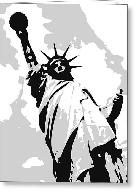 Capital Of The Universe Greeting Cards - Statue of Liberty BW3 Greeting Card by Scott Kelley