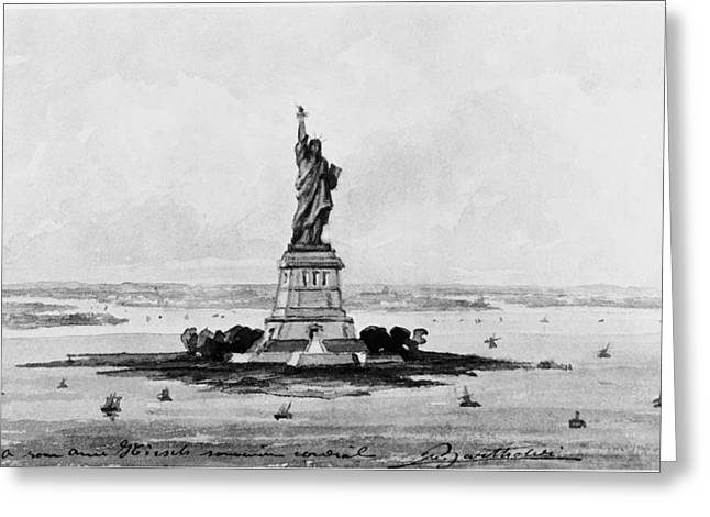 Bartholdi Greeting Cards - STATUE OF LIBERTY, c1886 Greeting Card by Granger