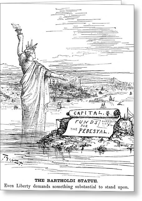 Nast Greeting Cards - Statue Of Liberty Cartoon Greeting Card by Granger