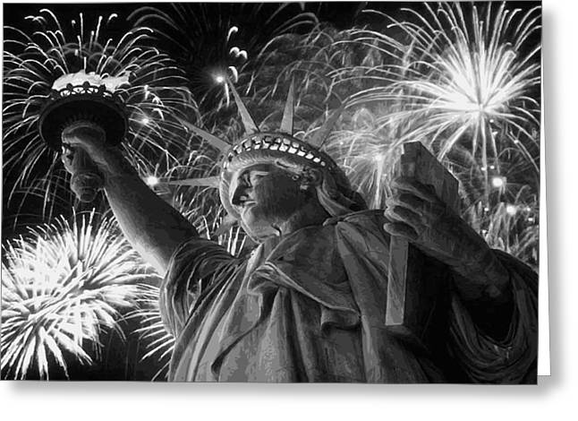 Capital Of The Universe Greeting Cards - Statue of Liberty Fireworks BW16 Greeting Card by Scott Kelley