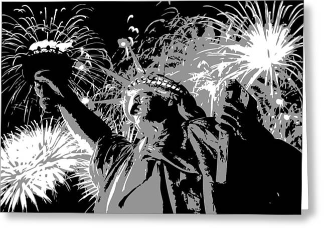 Capital Of The Universe Greeting Cards - Statue of Liberty Fireworks BW3 Greeting Card by Scott Kelley