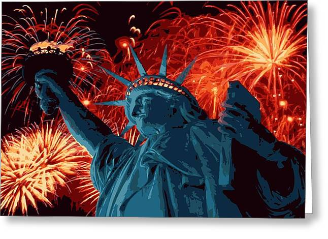 Capital Of The Universe Greeting Cards - Statue of Liberty Fireworks Color 16 Greeting Card by Scott Kelley