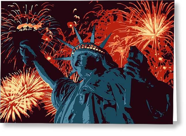 Capital Of The Universe Greeting Cards - Statue of Liberty Fireworks Color 6 Greeting Card by Scott Kelley