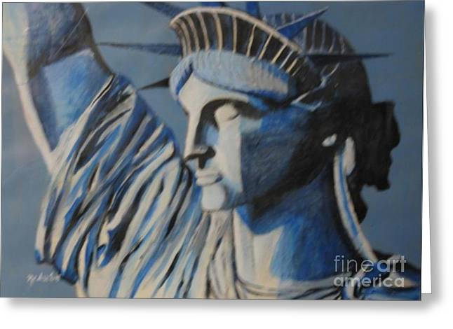 Statue Portrait Paintings Greeting Cards - Statue of liberty Greeting Card by Nedunseralathan R