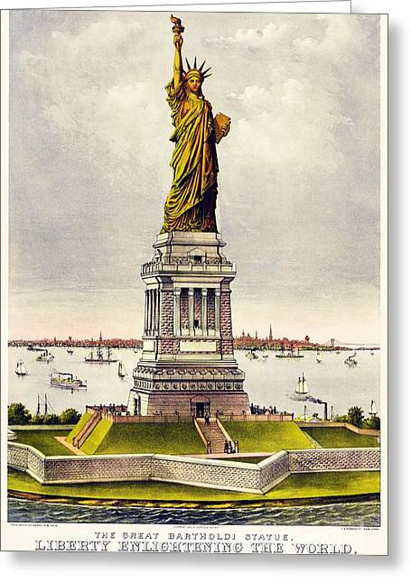 Chromolithograph Greeting Cards - Statue Of Liberty Greeting Card by Pg Reproductions