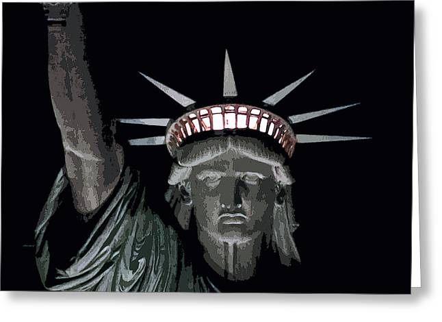 Libertas Greeting Cards - Statue of Liberty Poster Greeting Card by David Pringle