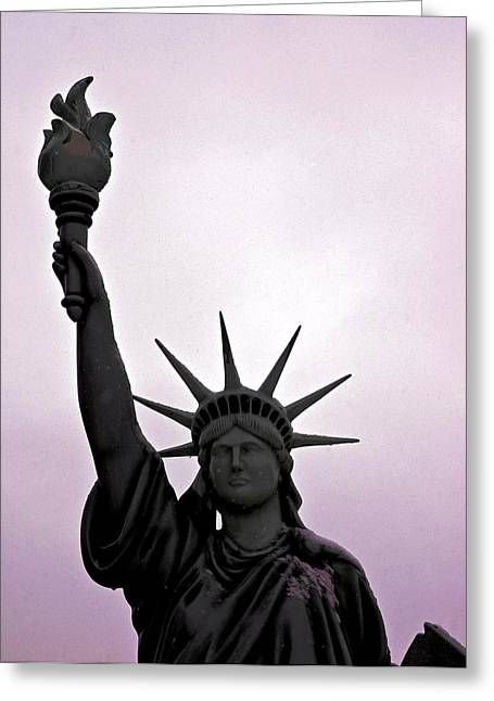 Purple Robe Greeting Cards - Statue of Liberty Purple Sunset Greeting Card by LeeAnn McLaneGoetz McLaneGoetzStudioLLCcom
