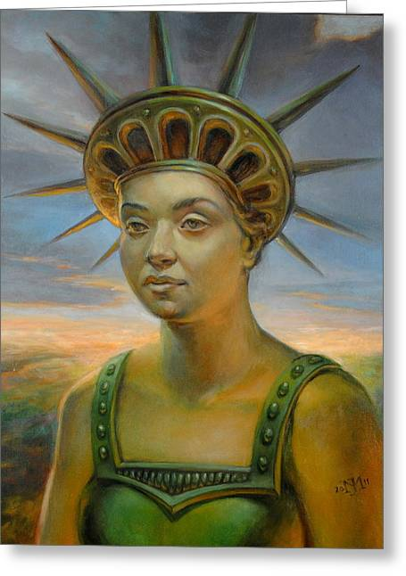 Statue Portrait Paintings Greeting Cards - Statue of Liberty Still Alive Greeting Card by Jiri Mesicki