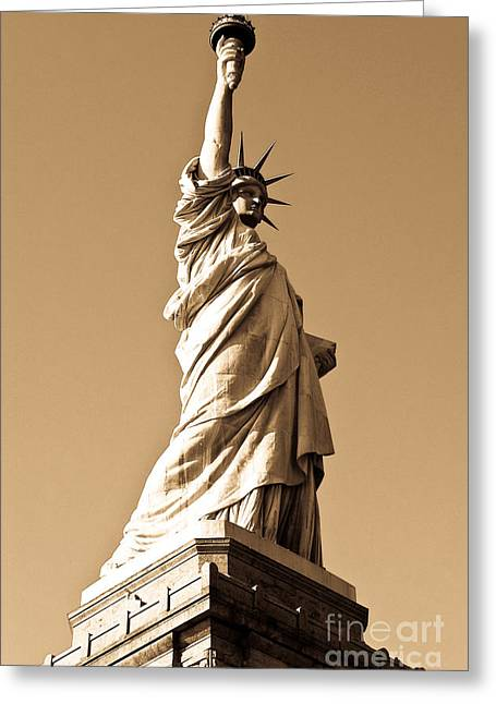 Out Of This World Greeting Cards - Statue of Liberty Greeting Card by Syed Aqueel