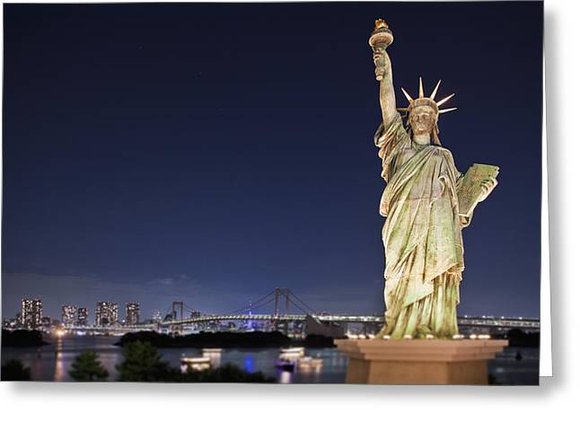 Art Product Greeting Cards - Statue Of Liberty With Tokyo Bay Greeting Card by Bryan Mullennix