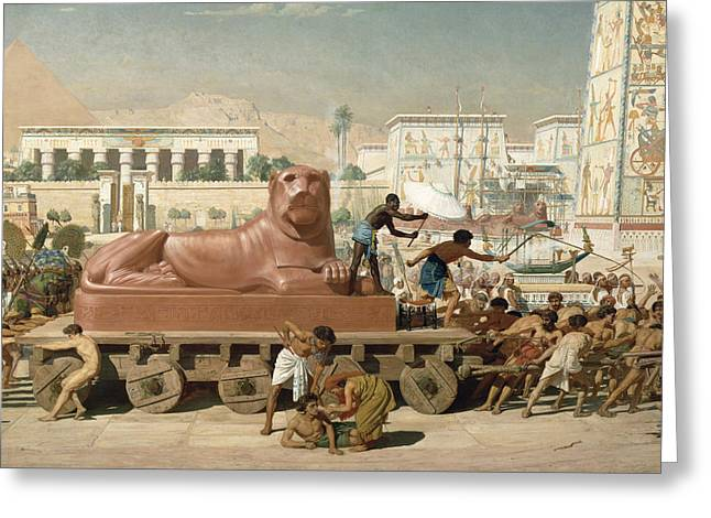 Statue of Sekhmet being transported  detail of Israel in Egypt Greeting Card by Sir Edward John Poynter