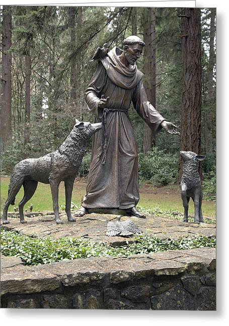 Gestures Greeting Cards - Statue of St. Francis of Assisi. Greeting Card by Gino Rigucci
